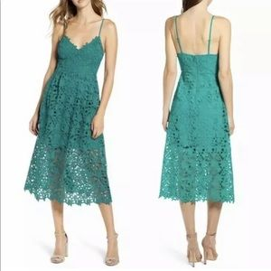 Astr Crochet Lace A Line Midi Dress Jade Green